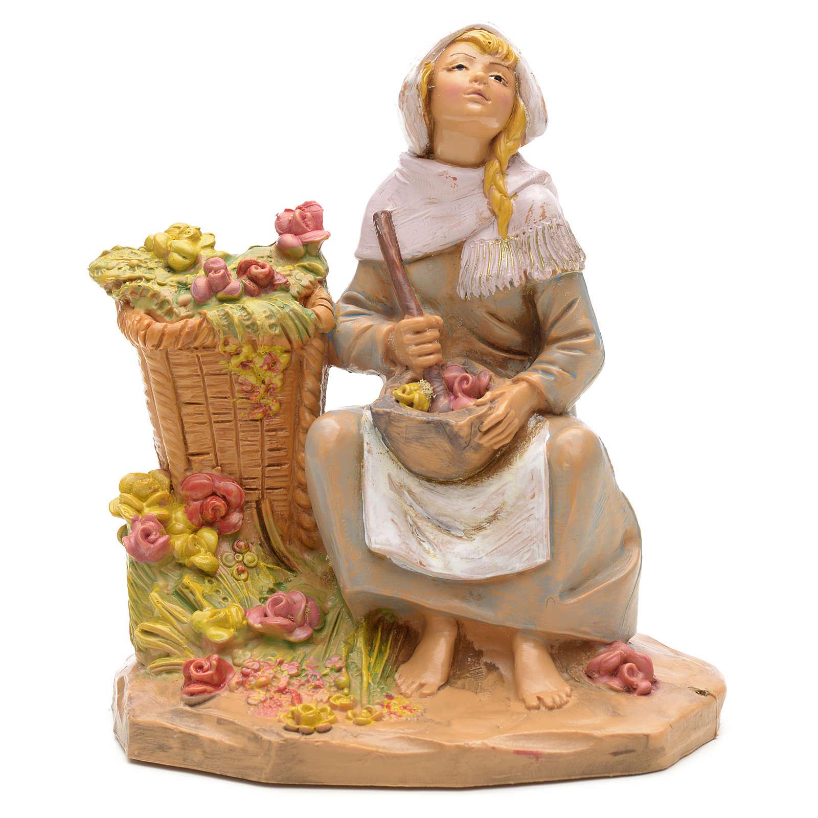 Femme au mortier crèche Fontanini 12 cm 4