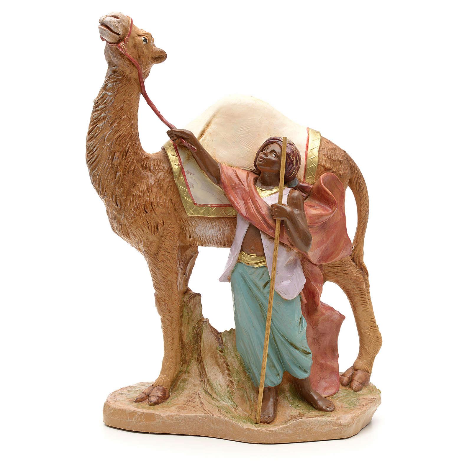 Camellero con camello para belén Fontanini con figuras de altura media 19 cm 3