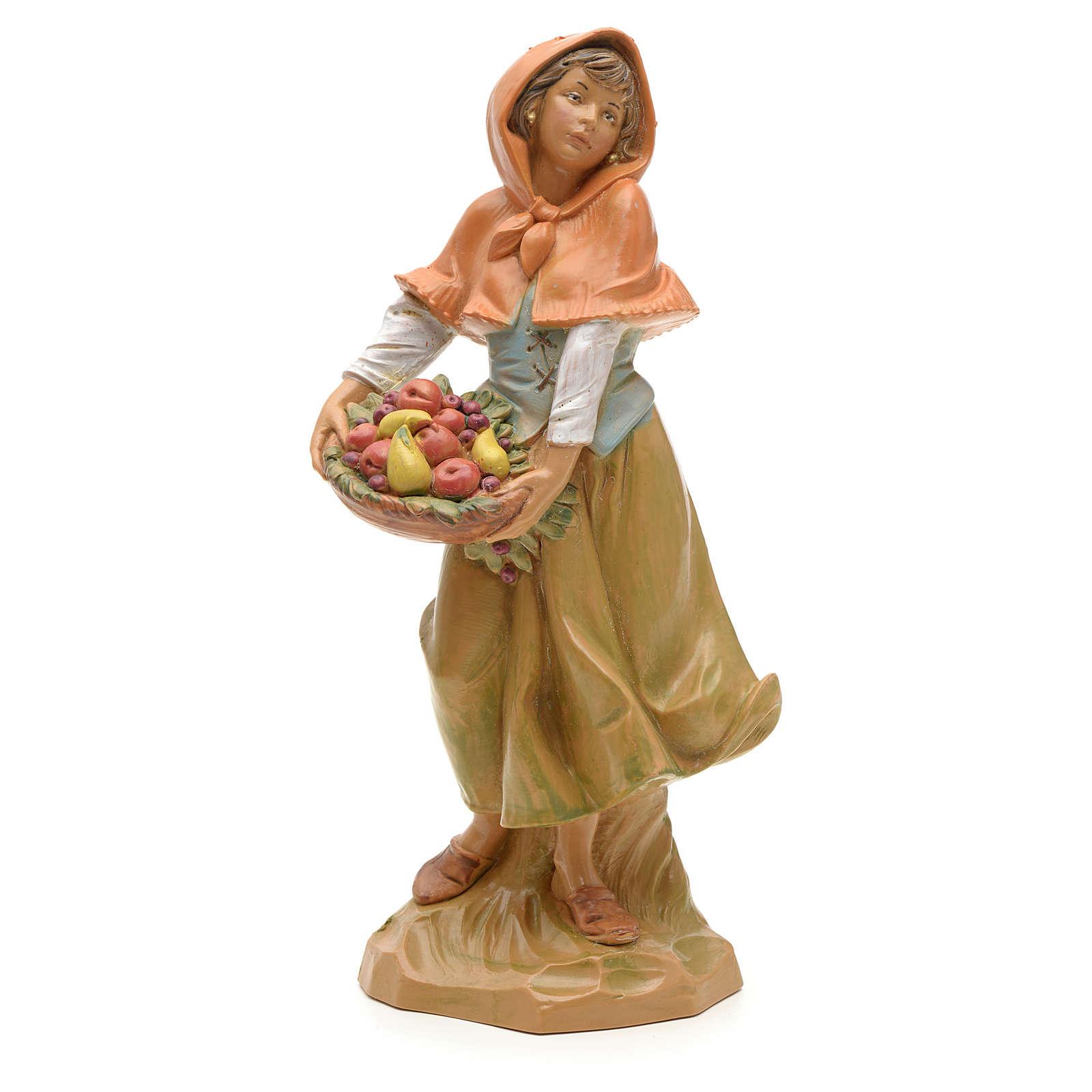 Pastorella con cesta frutta 19 cm Fontanini 3