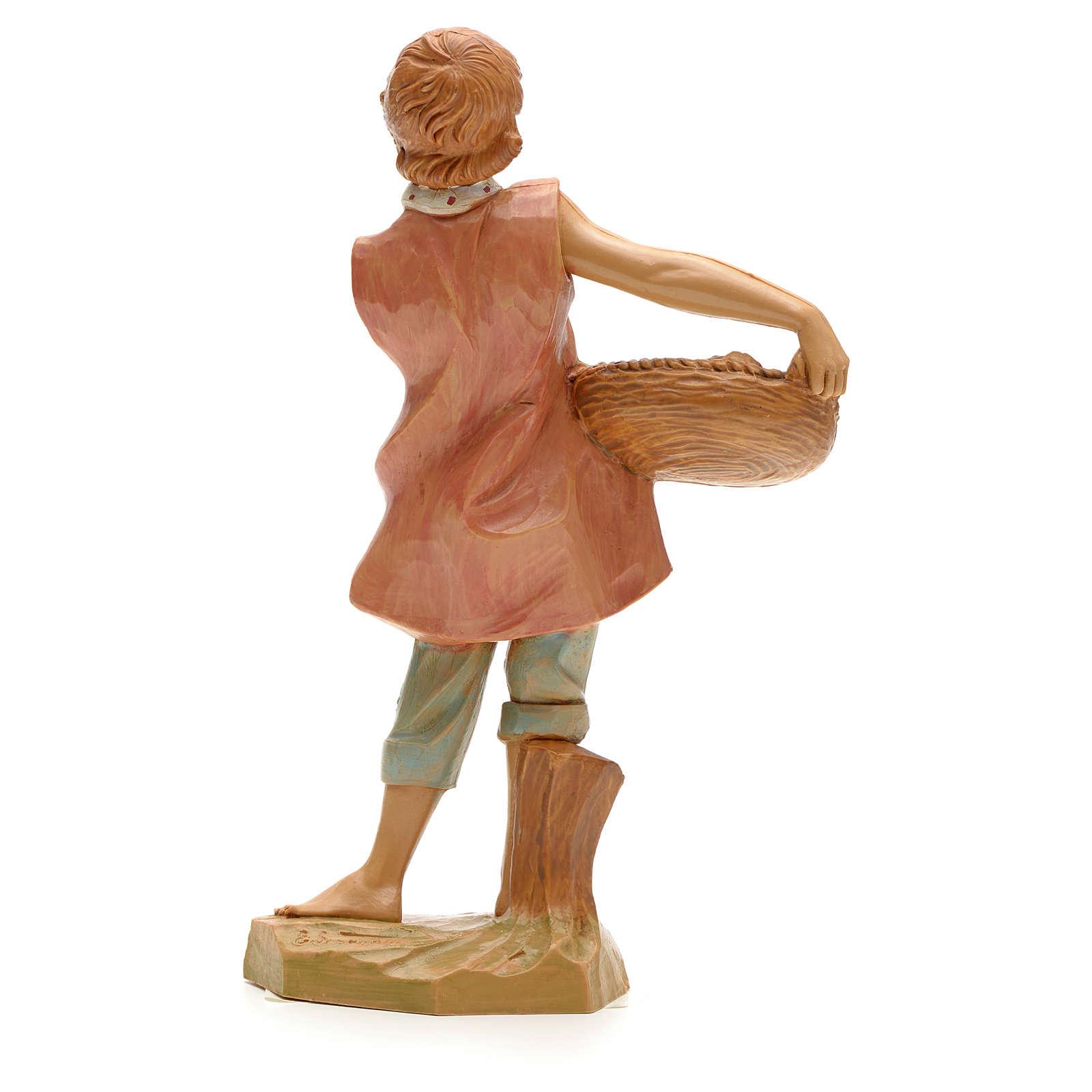 Pastor con cesta de peces 19cm Fontanini 4