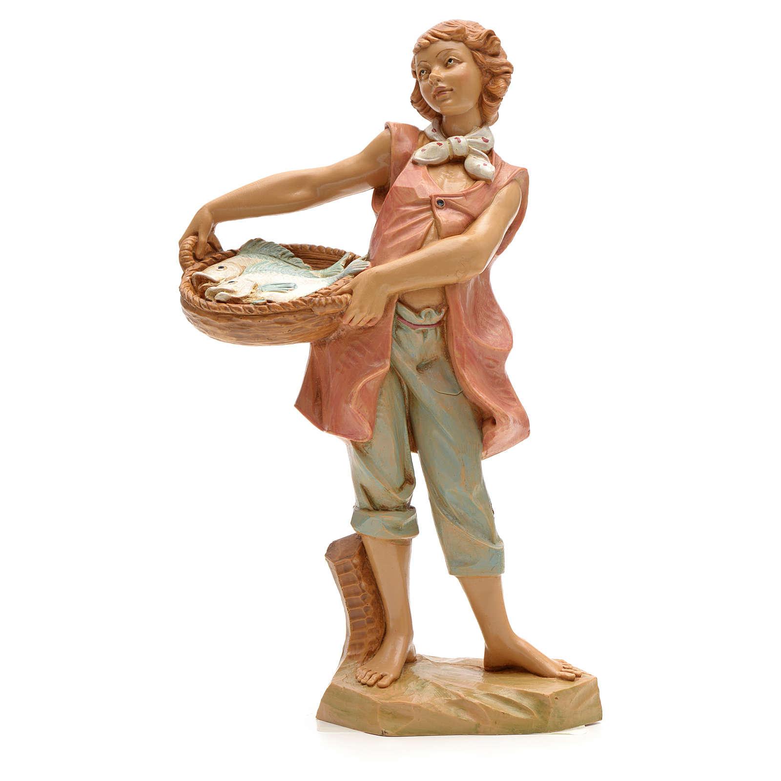 Pastore con cesta di pesci 19 cm Fontanini 3