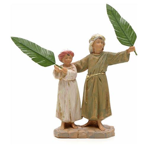 Enfants avec feuilles de palmier crèche Fontanini 12 cm 1