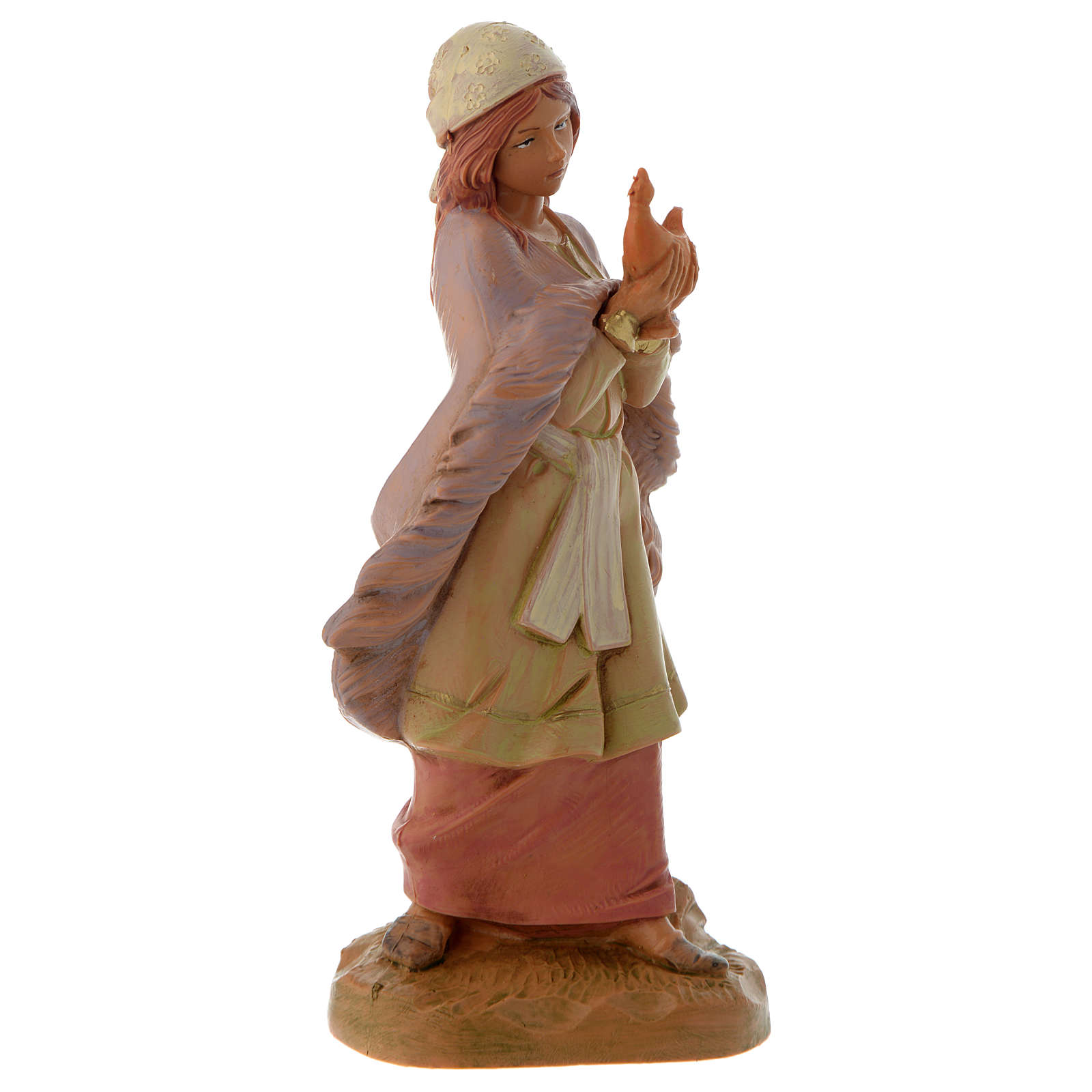 Fille avec sa lampe crèche Fontanini 12 cm 3