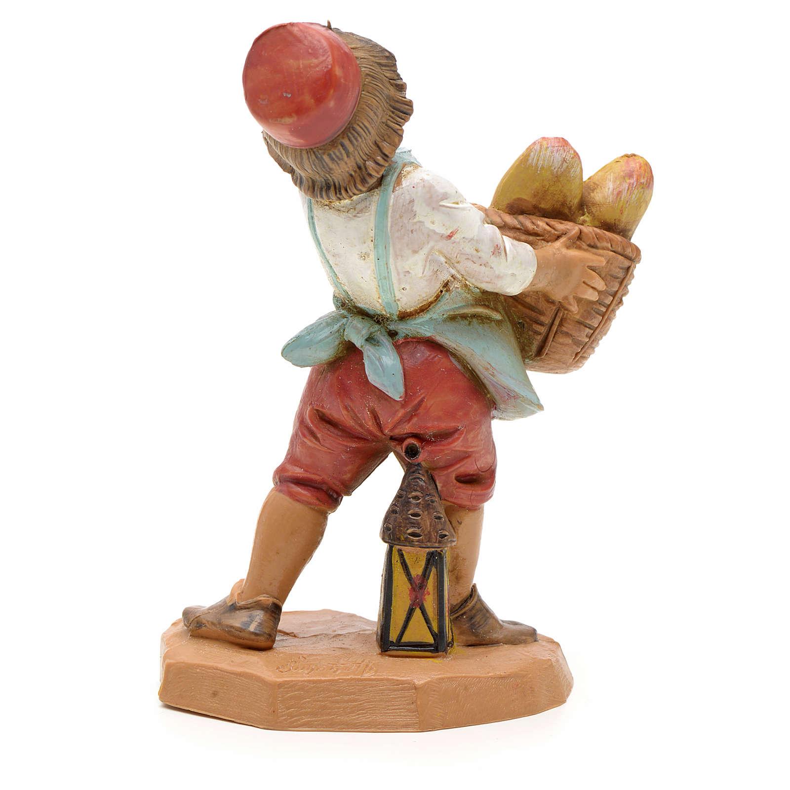 Bambino con cesta di pane 12 cm 4