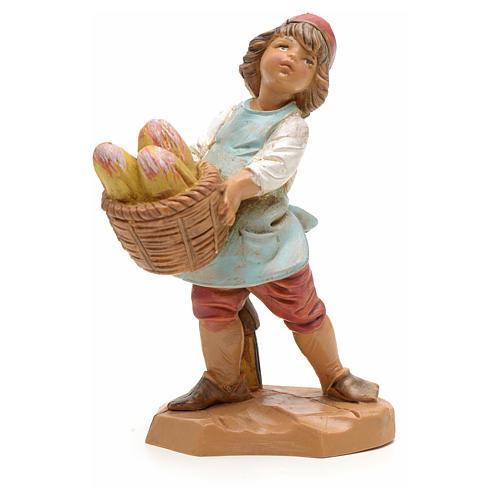 Bambino con cesta di pane 12 cm 1