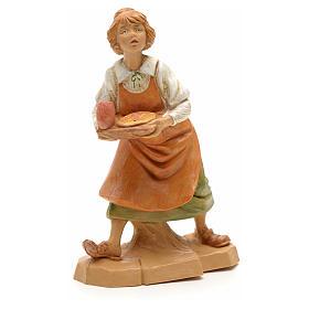 Figuras del Belén: Pastora con bandeja de la cena 12cm Fontanini