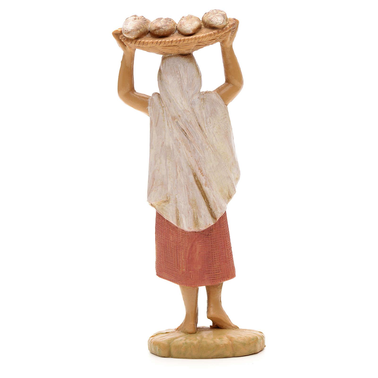 Mulher com bandeja de pão na cabeça 12 cm Fontanini 4