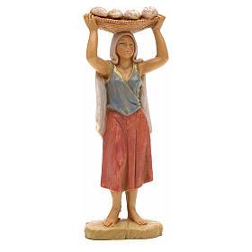 Mulher com bandeja de pão na cabeça 12 cm Fontanini s1