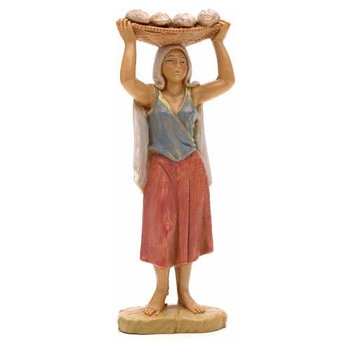 Mulher com bandeja de pão na cabeça 12 cm Fontanini 1