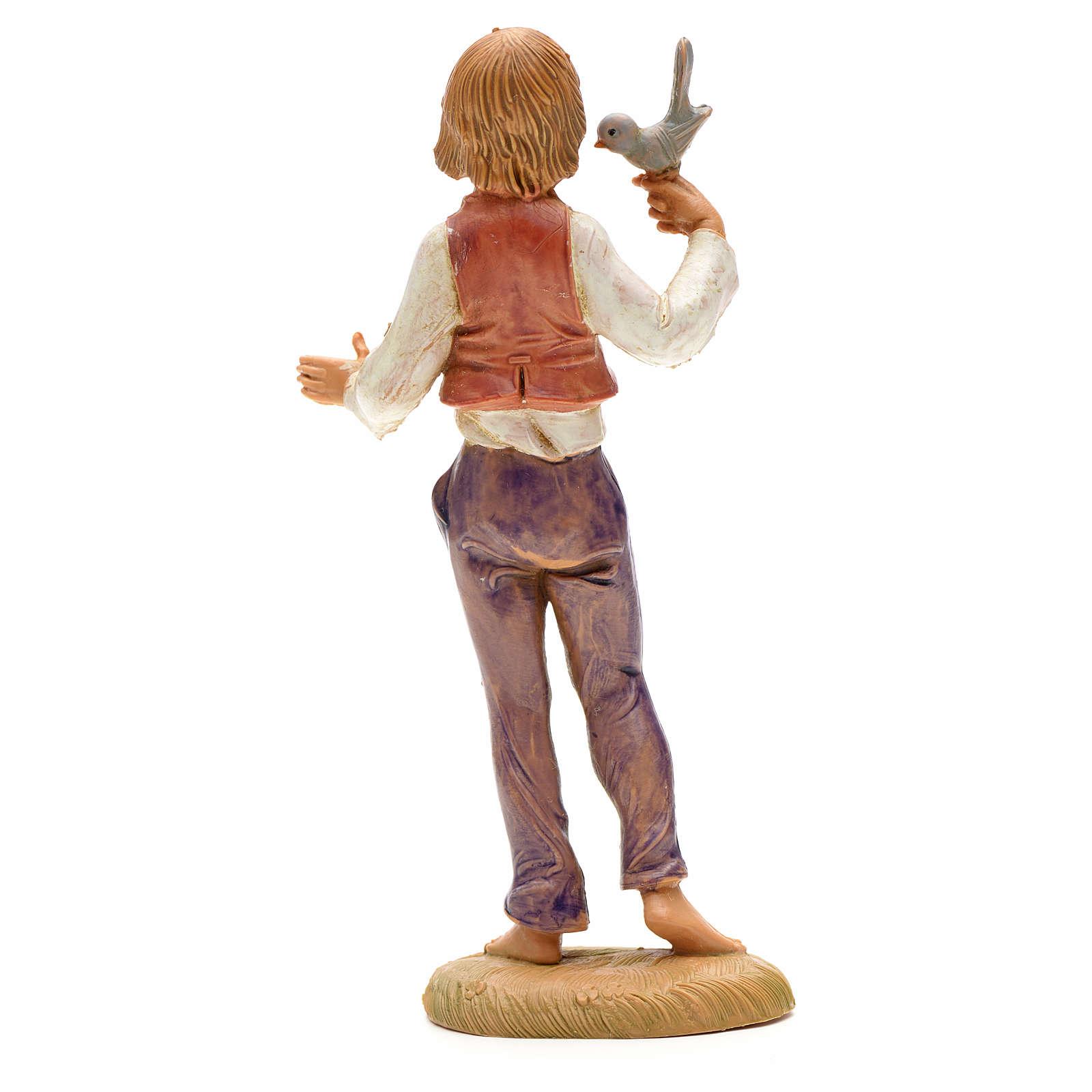 Garçon avec oiseau crèche Fontanini 12 cm 4