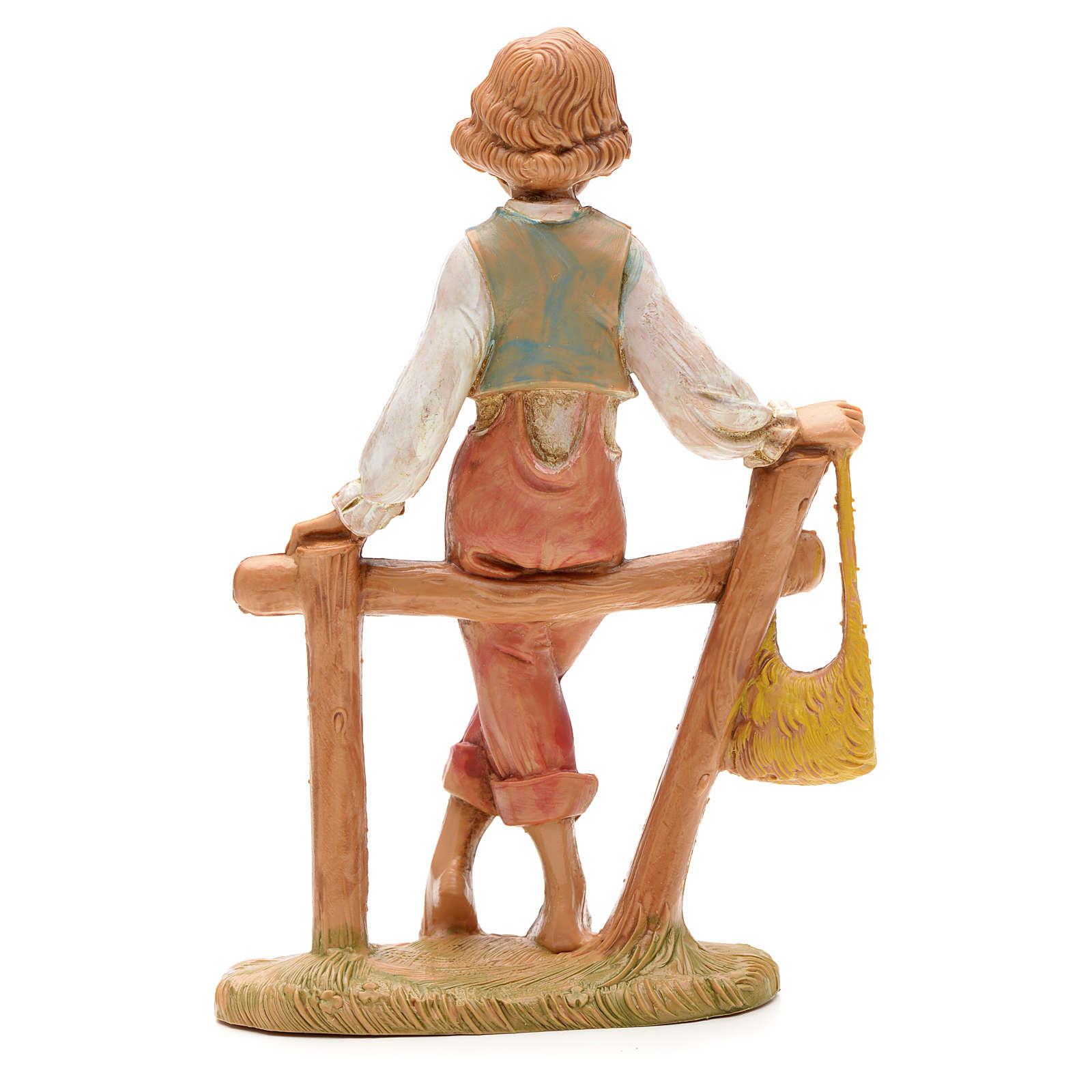 Garçon sur palissade crèche Fontanini 12 cm 4