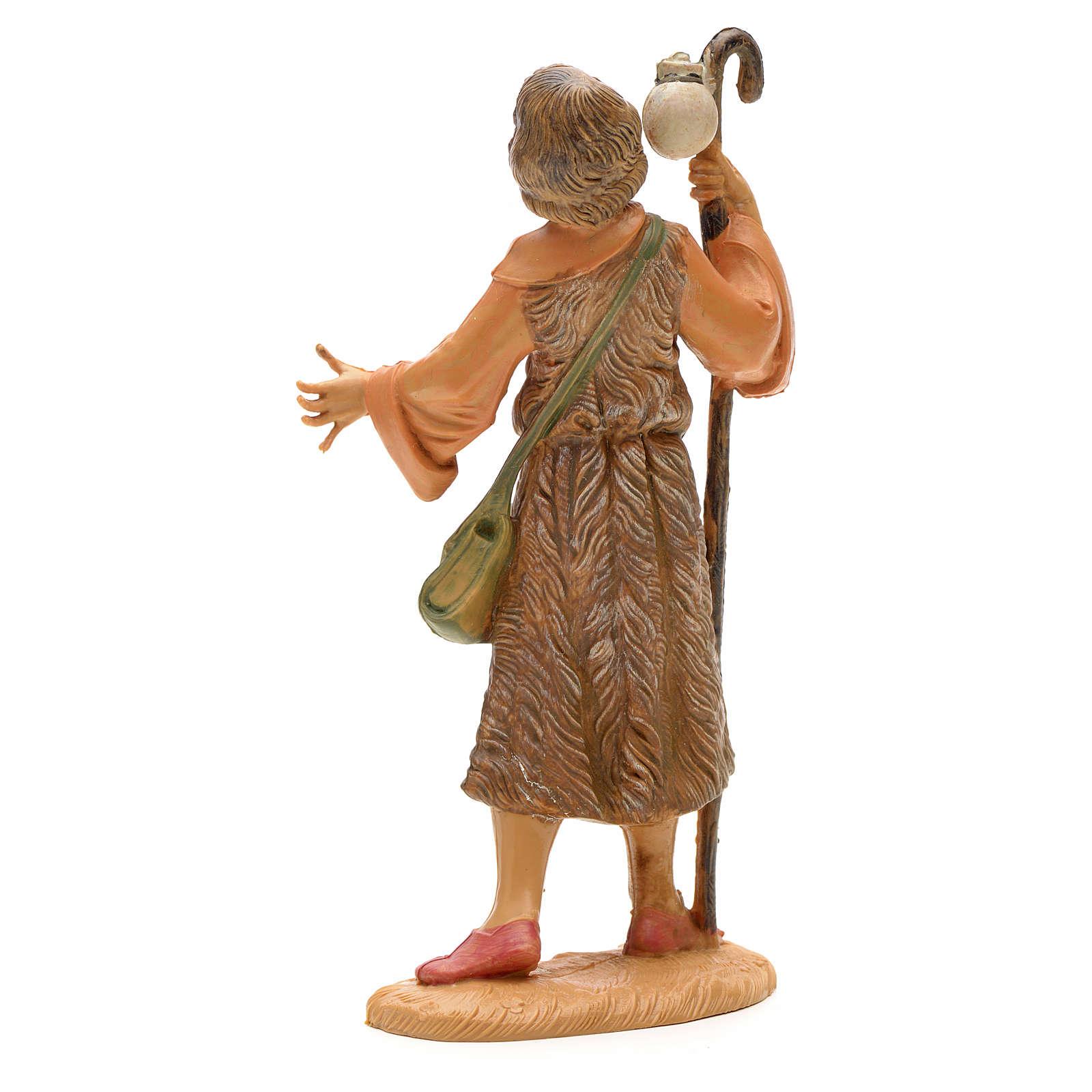 Berger avec bâton et sac crèche Fontanini 12 cm 4