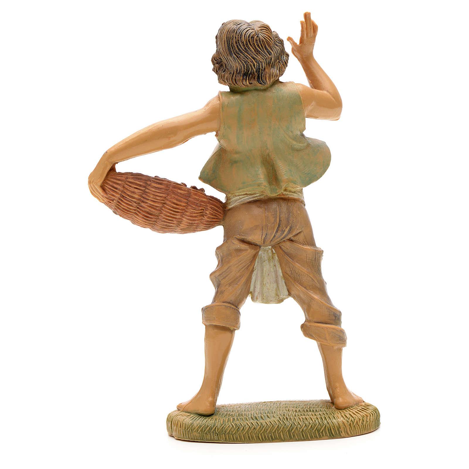 Ragazzo con cesta di pesci cm 12 Fontanini 3