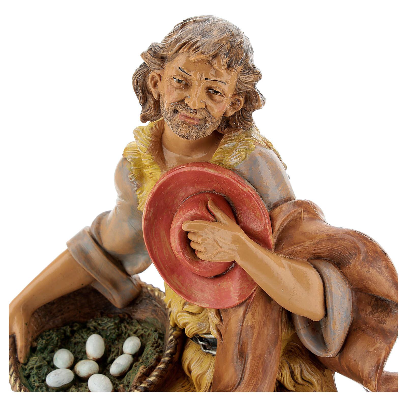 Pastore in ginocchio con uova 30 cm Fontanini 4