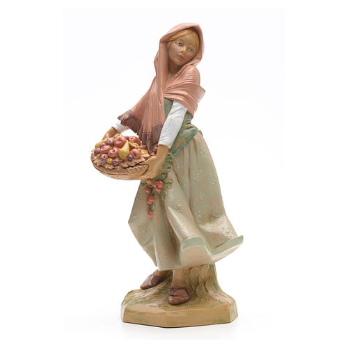 Rapariga com cesta de fruta 30 cm Fontanini 1