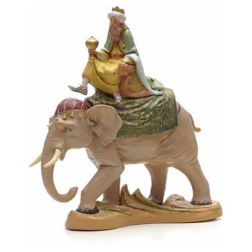 Re Magio bianco su elefante 19 cm Fontanini 1
