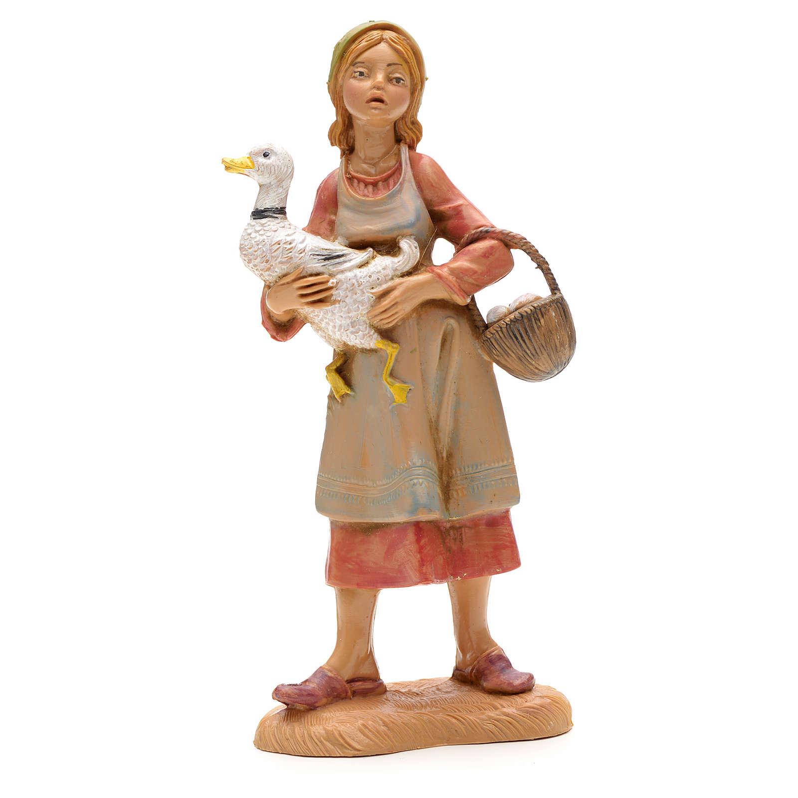 Krippenfigur Schäferin mit Gans in der Hand und Eiern 12 cm 4