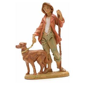 Krippenfigur Schafshirte mit Hund Fontanini 12 cm s1