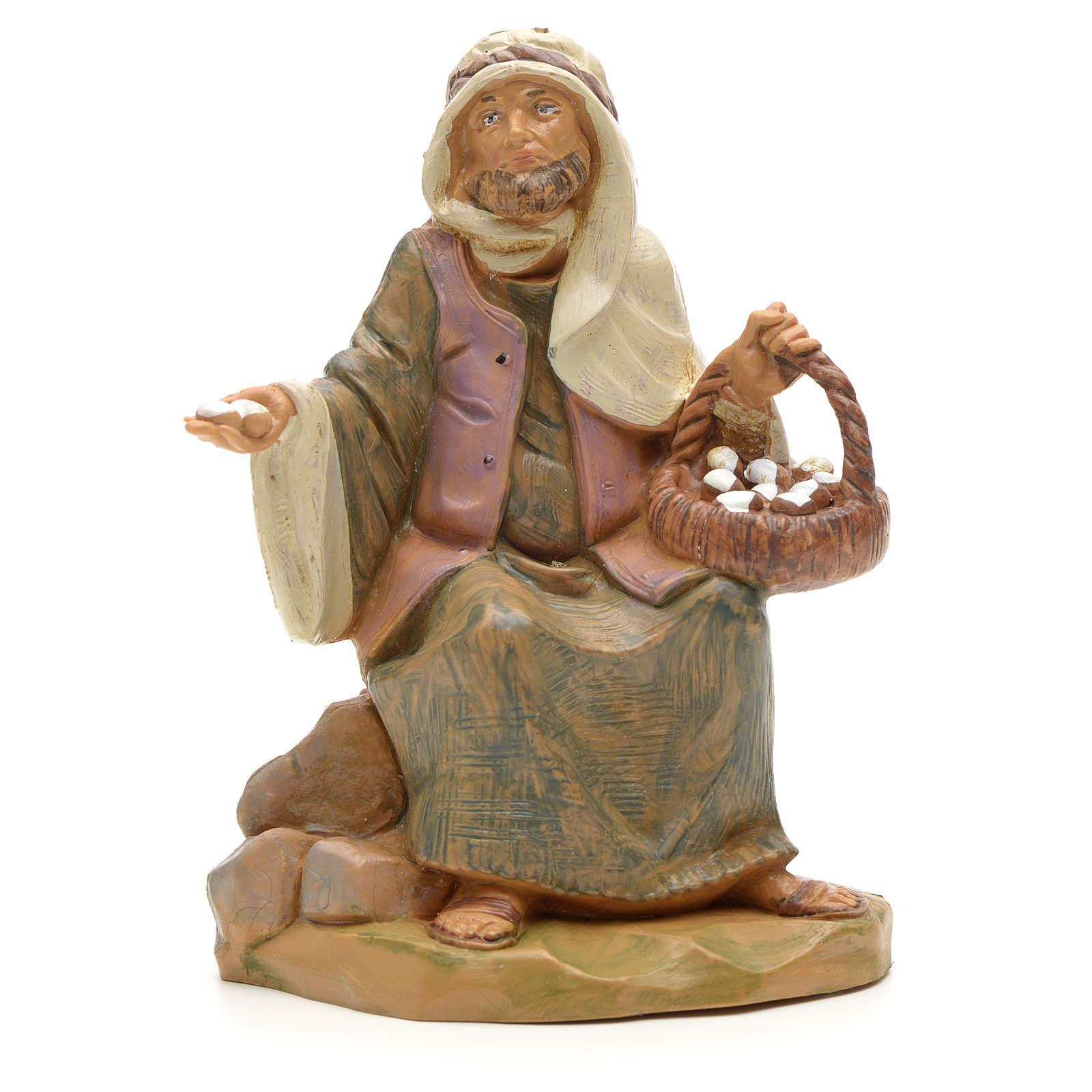 Pastor con cesta de huevo 12 cm Fontanini 3