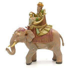 Statue per presepi: Re magio mulatto su elefante 12 cm Fontanini