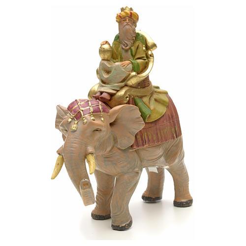 Król Mędrzec mulat na słoniu Fontanini 12 cm 4