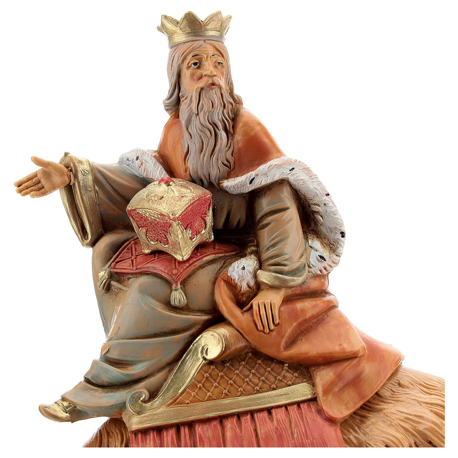 Roi Mage blanc sur chameau crèche Fontanini 19 cm 3