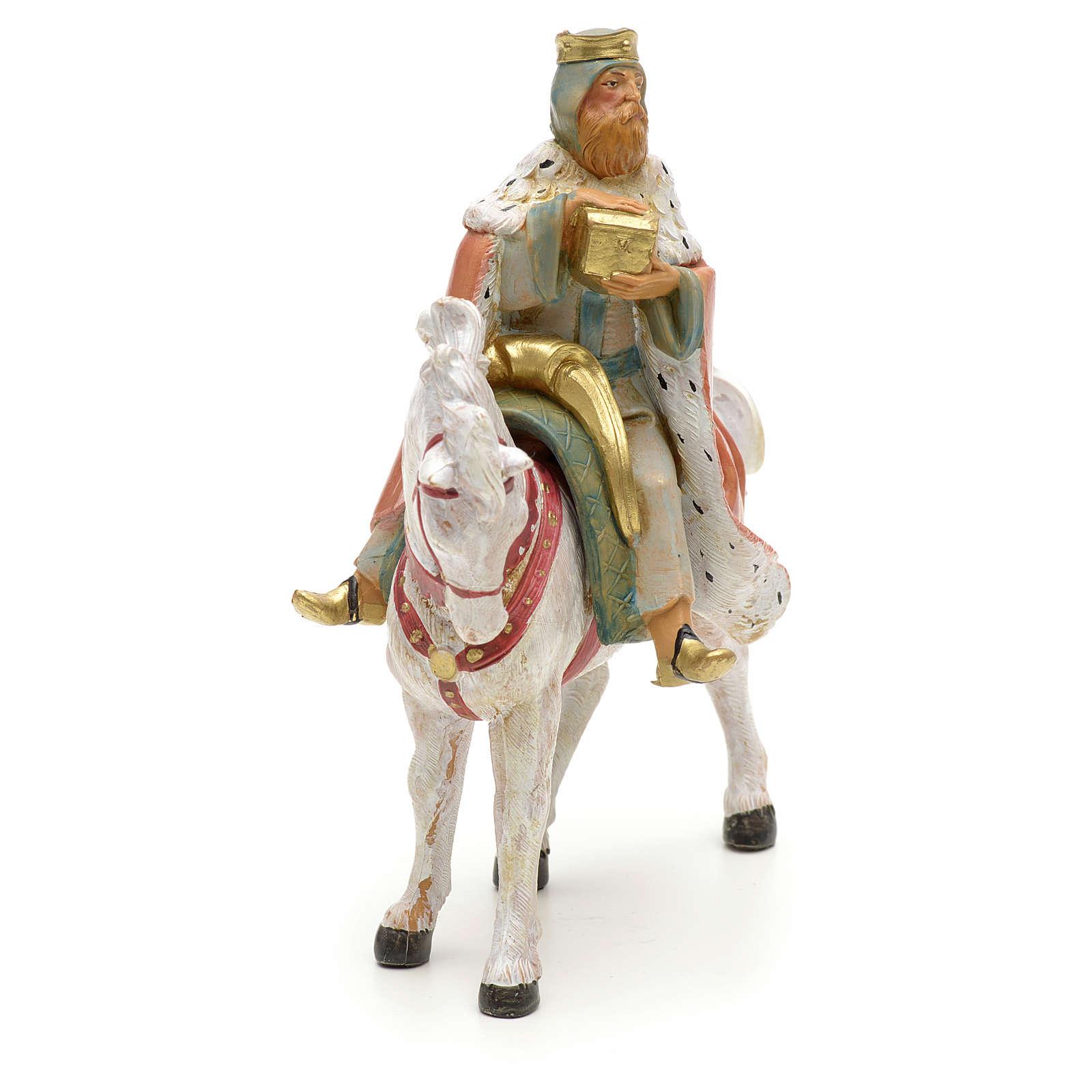 Rei Mago branco no cavalo para Presépio Fontanini com figuras de altura média 12 cm 4