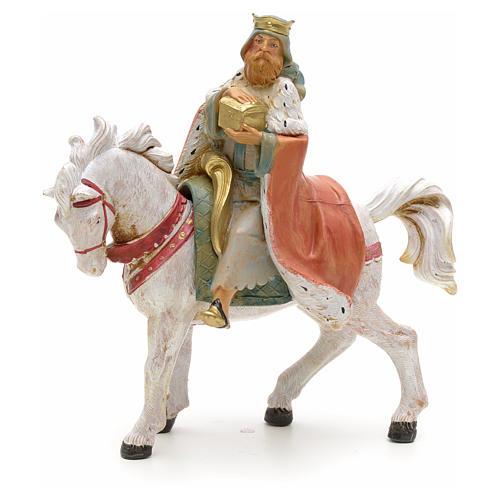 Rei Mago branco no cavalo para Presépio Fontanini com figuras de altura média 12 cm 1