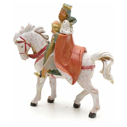Rei Mago branco no cavalo para Presépio Fontanini com figuras de altura média 12 cm 2