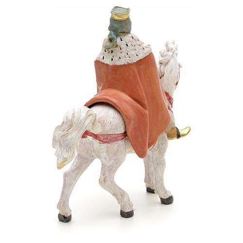Rei Mago branco no cavalo para Presépio Fontanini com figuras de altura média 12 cm 3