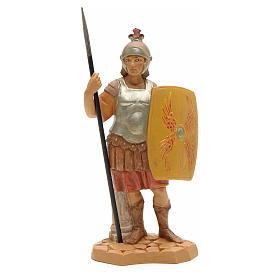 Soldat handcoloriert, mit Schild, 12 cm Fontanini s1