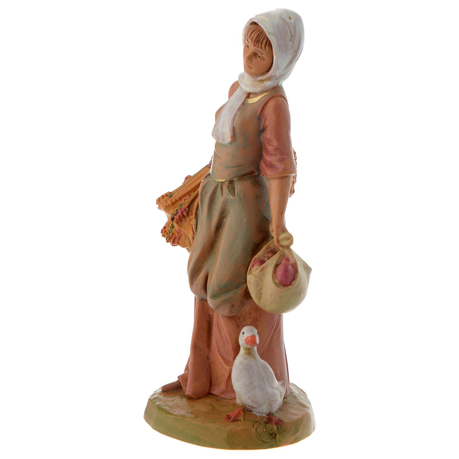 Pastora con granos y ganso 12 cm Fontanini 3