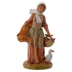 Pastora con granos y ganso 12 cm Fontanini s1