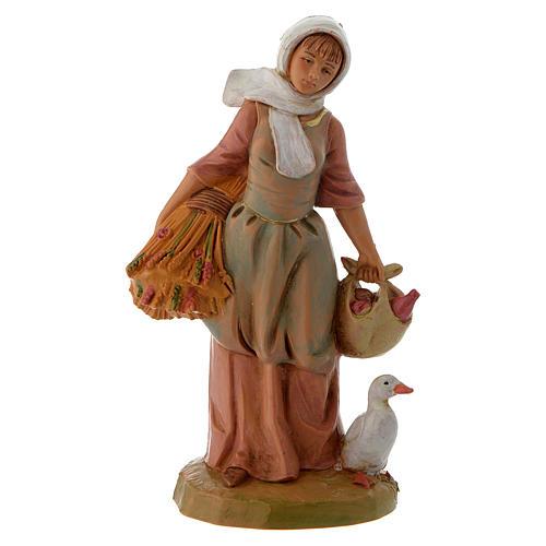 Pastora con granos y ganso 12 cm Fontanini 1