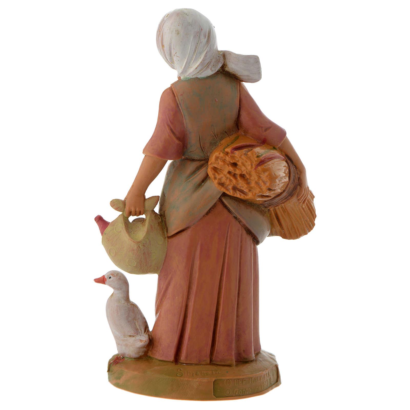 Paysanne avec blé et oie crèche Fontanini 12 cm 3