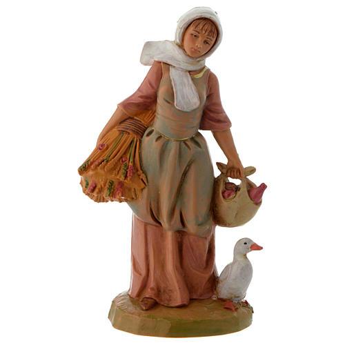 Paysanne avec blé et oie crèche Fontanini 12 cm 1