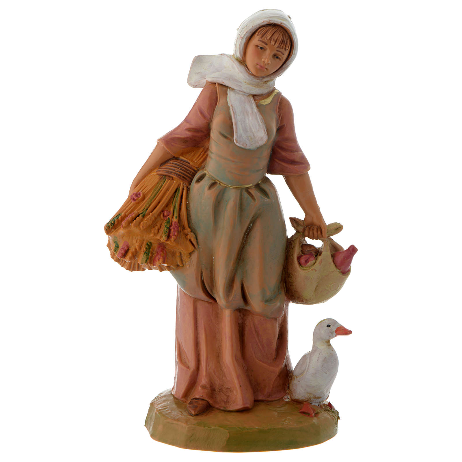 Pastuszka ze zbożem i gęsią 12 cm Fontanini 3