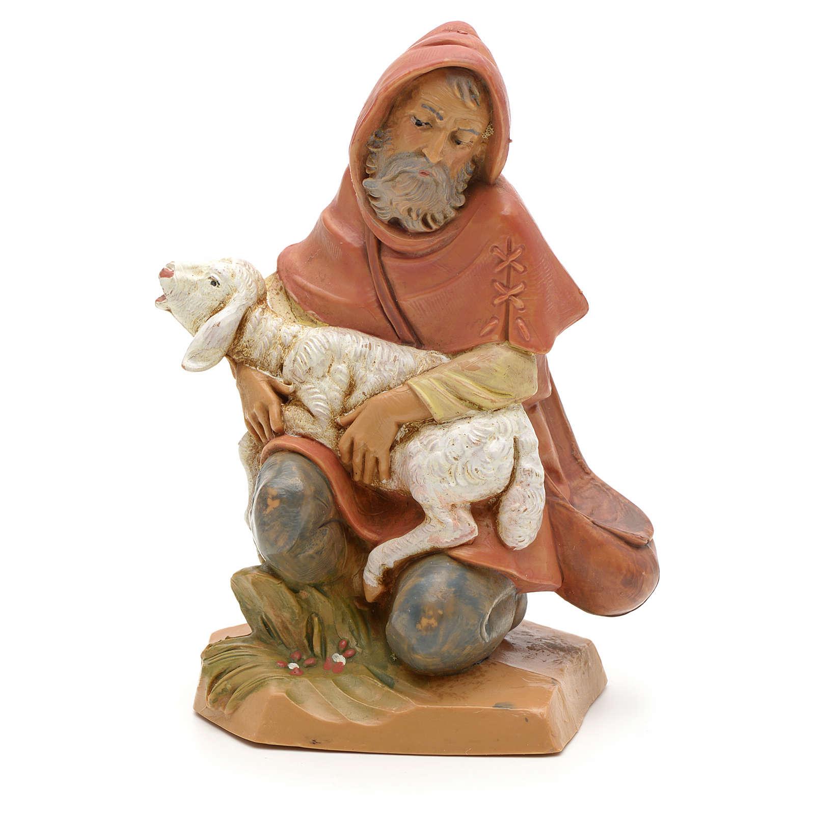Pastor ajoelhado com ovelha para Presépio Fontanini com figuras de altura média 12 cm 3