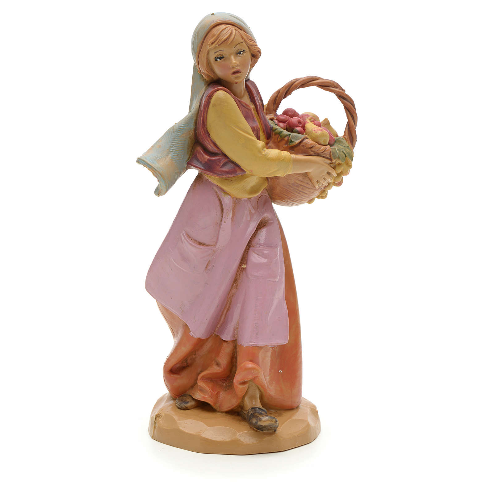 Pastora con cesta de fruta 12 cm Fontanini 3