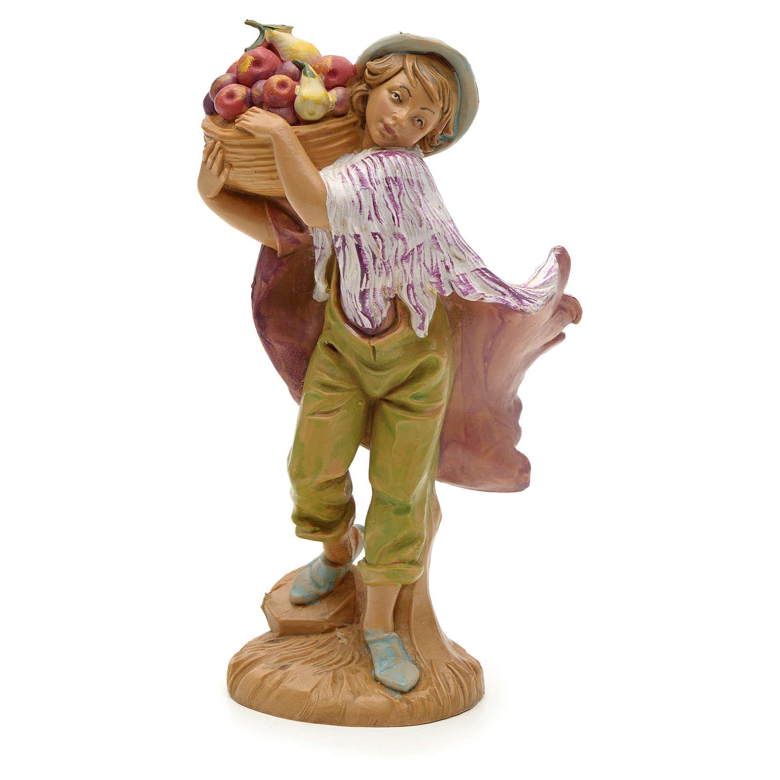 Chłopiec z koszem owoców 12 cm Fontanini 3
