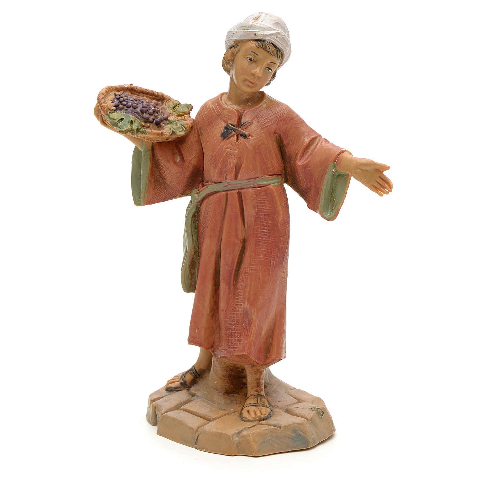 Dziecko z koszem winogron 12 cm Fontanini 3