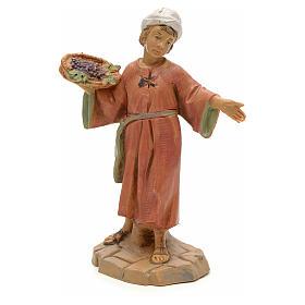 Dziecko z koszem winogron 12 cm Fontanini s1