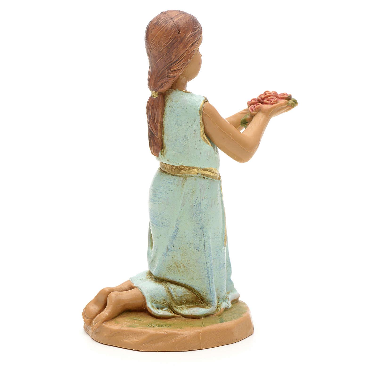 Bambina con mazzo di rose 12 cm Fontanini 3