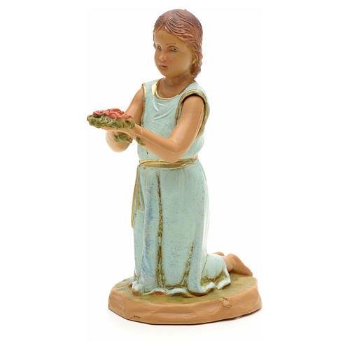 Bambina con mazzo di rose 12 cm Fontanini 1