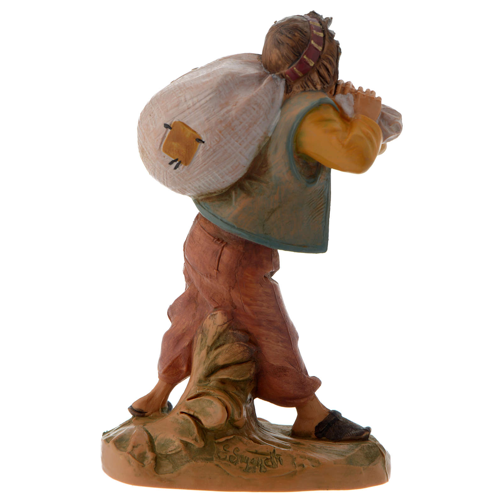 Garçon et son sac crèche Fontanini 12 cm 4
