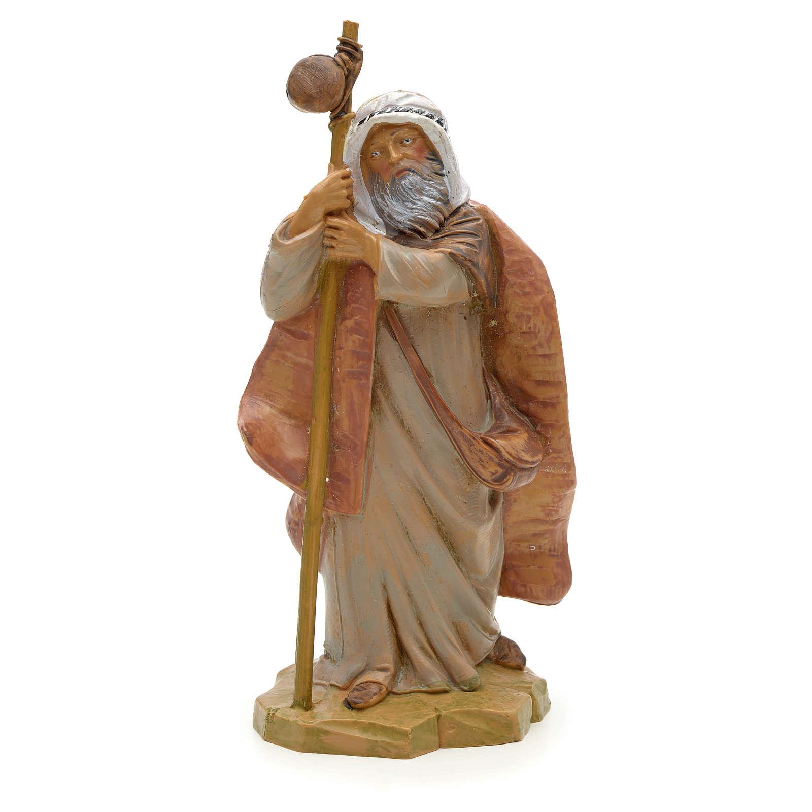 Berger vieux et son bâton crèche Fontanini 12 cm 3
