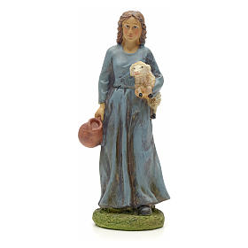 Nativity figurine, resin shepherdess with goat and amphora 20cm s1