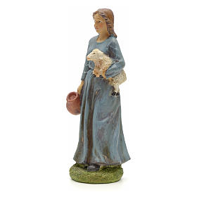 Nativity figurine, resin shepherdess with goat and amphora 20cm s2