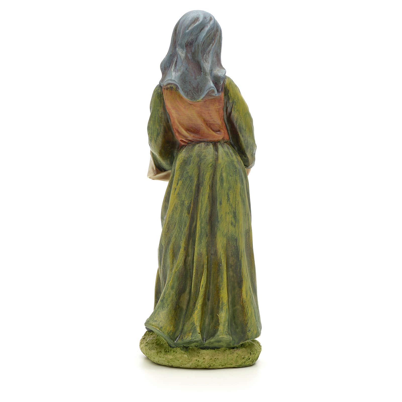 Femme avec panier de fruits crèche 20 cm résine 3