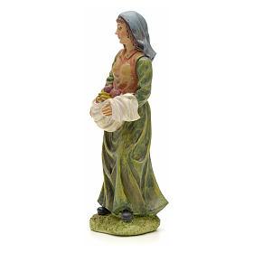 Femme avec panier de fruits crèche 20 cm résine s2